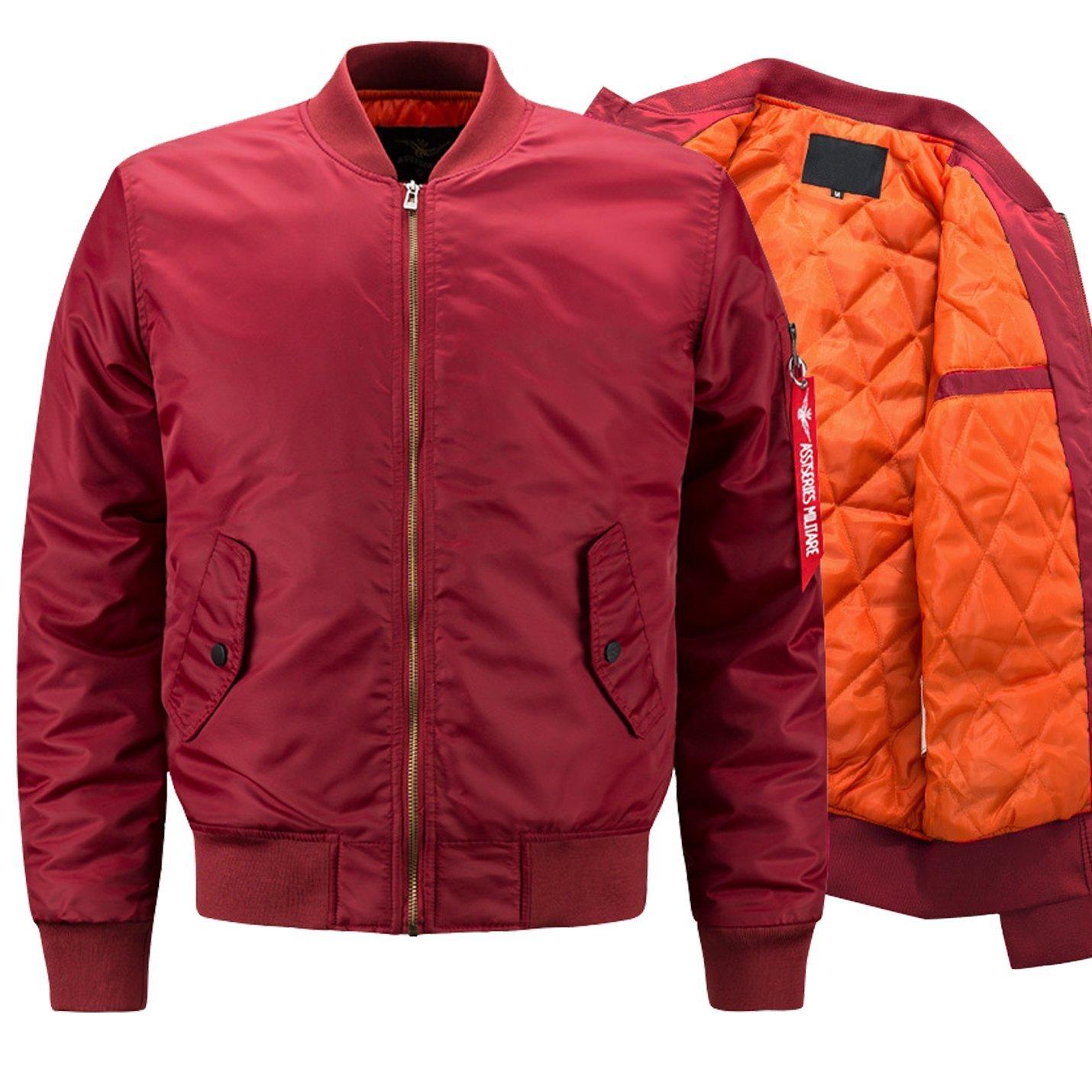 Yeokou Men's Casual Stand Collar Short Zipper Flight Pilot Aviator Bomber Jacket