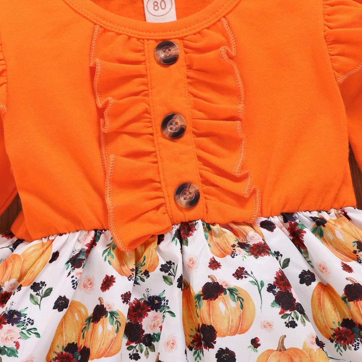 Halloween Kids Toddler Baby Girls Dresses Pumpkin Ghost Spider Bell Sleeve Dress Outfit Fall Clothes