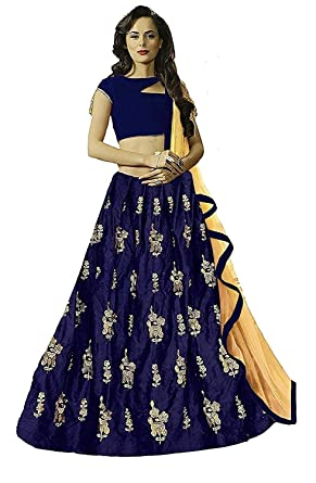 c492aad72 Drashti villa Women s Embroidered Velvet Semi-Stitched Lehenga Choli (Blue