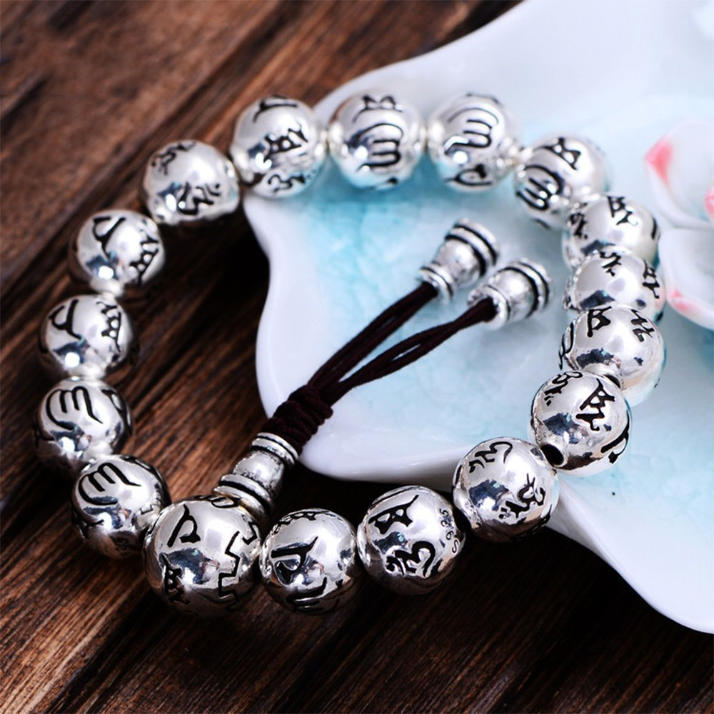 MetJakt Buddhism Mantra Bracelet Solid S999 Sterling Silver Buddha Beads Bracelet for Unisex Vintage Jewelry Stretching 7.5-9inches by MetJakt (Image #3)