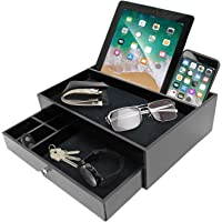 Mens Valet Tray For Men - Nightstand Organizer Catch All Edc Tray for Men Keeping Items Organized as a Docking Station for Men - Phone and Tablet Charging Station Organizer