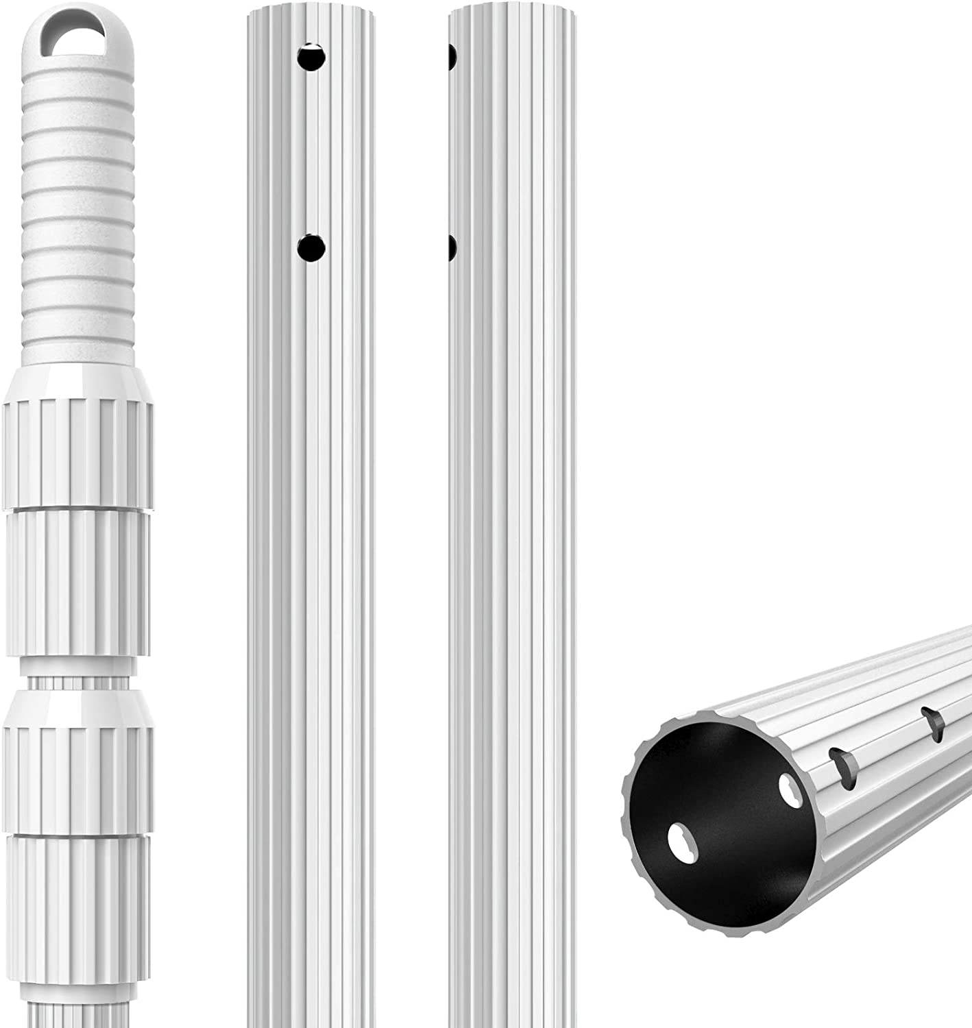 Rakes UGarden 12 Foot Aluminum Telescopic Swimming Pool Pole Vacuum Heads with Hoses Brushes 1.28mm Wall-Thickness Attach Connect Skimmer Nets Adjustable 3 Piece Expandable Step-Up