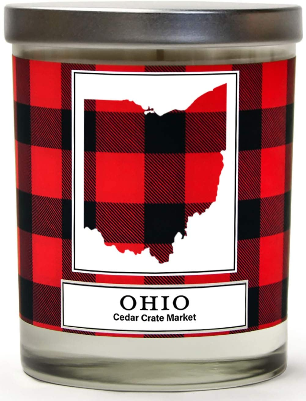 Ohio Buffalo Plaid Scented Soy Candle | Fraser Fir, Pine Needle, Cedarwood | 10 Oz. Glass Jar Candle | Made in The USA | Decorative Candles | Going Away Gifts for Friends | State Candles