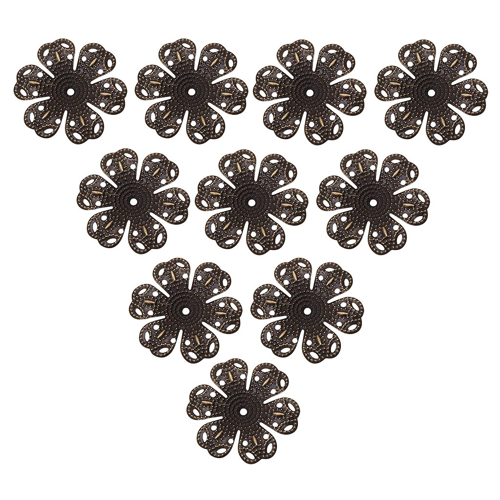 Homyl 100 Pieces Beautiful Filigree Iron Plated Bead Caps, Filigree Bead Caps Flower Bead Caps, 24mm Dia, Necklace Cord End Caps Tassel Crimp End Connector DIY Jewelry Findings - bronze