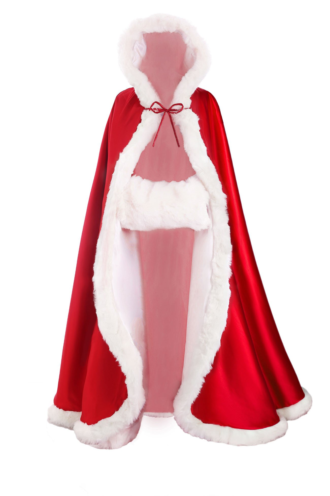 Wedding Cape Hooded Cloak for Bride Winter Reversible with Fur Trim Free Hand Muff Full Length 50 inches Apple Red