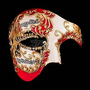 Blue & Gold Musical Men's Half Phantom Mask Mardi Gras Venetian Mask Halloween Ball Masquerade Mask (Red/Gold)