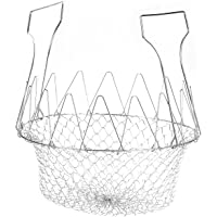 Deep Fry Basket - Stainless Steel Foldable Strainer Basket Colander - Cooking Basket for Frying, Steaming, Straining…