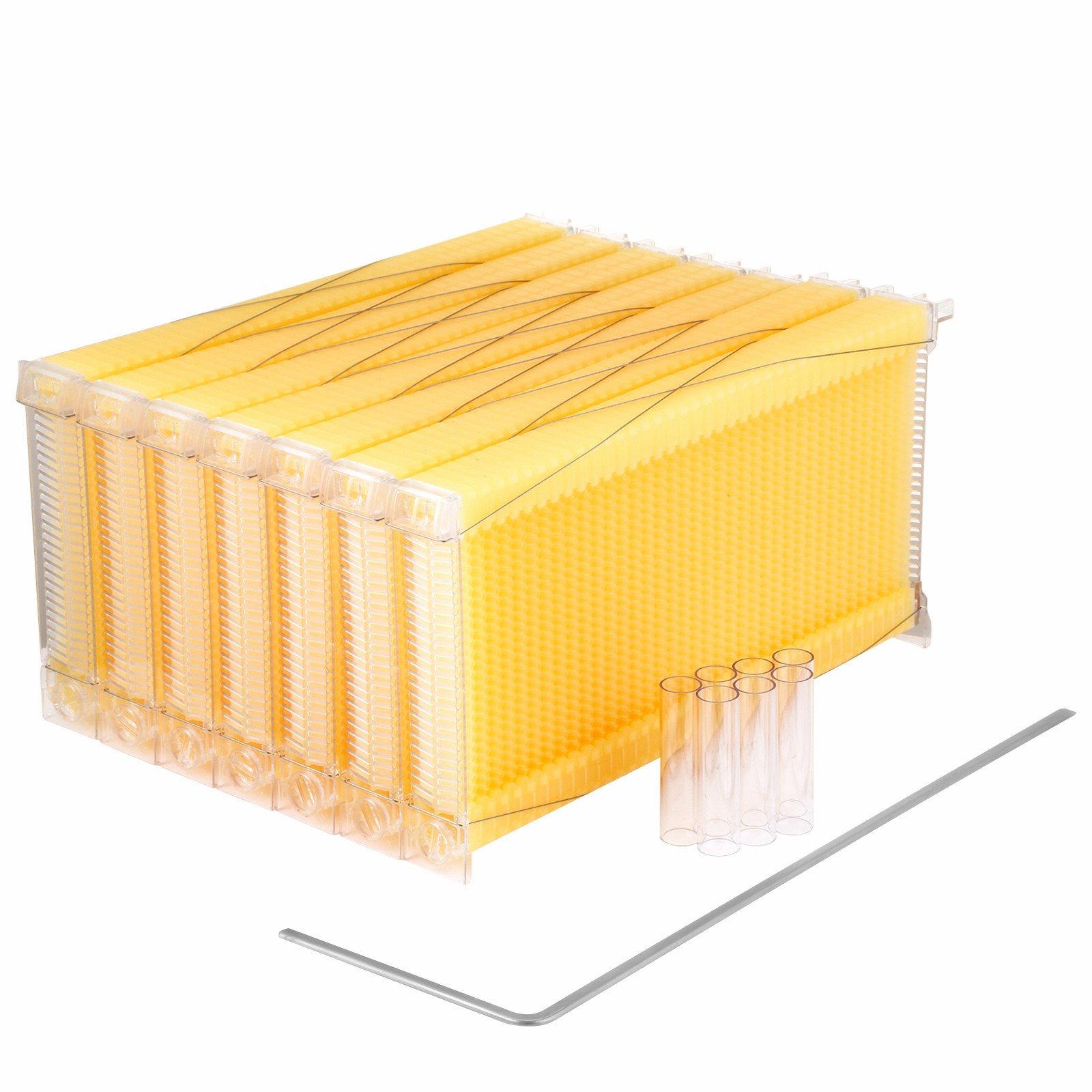 Popsport Automatic Flow Honey 7PCS Auto Flow Frames Honey Combs Food Grade Flow Honey Beehive Frames with 7 Honey Tubes for Beekeepers (Auto flow honey)