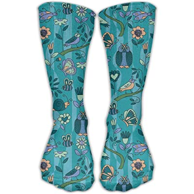 Crew Socks Ankle Support 30CM Low Cut Socks Butterfly Owl Repeat Print Ankle Compression Socks Foot Sleeve Unisex