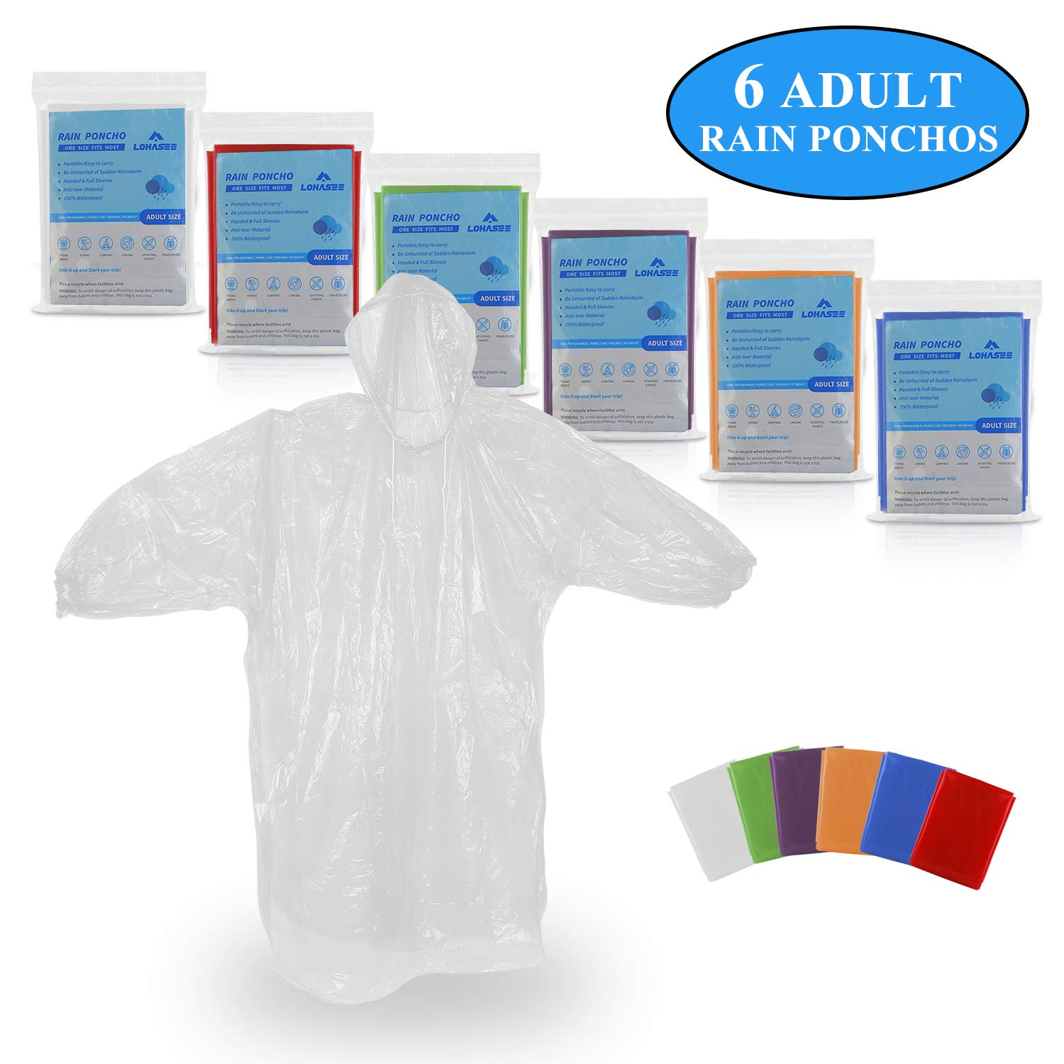 LOHASEE Disposable Rain Ponchos for Adults Size, Emergency Rain Coat with Hood and Elastic Sleeve Ends for Theme Park, Hiking, Camping or Traveling Assorted Colors (6 Pack)