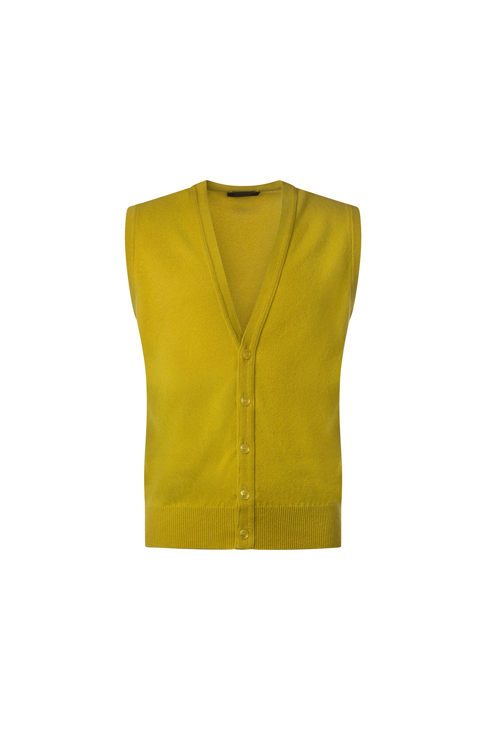 Great and British Knitwear Mens Made in Scotland 100% Lambswool V Neck Waistcoat-Piccalilli-Large
