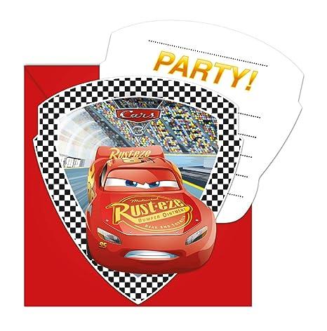 6 Invitaciones Y Sobres Coches 3 Para Cumpleaños Niños o Fiesta Temática Invitations Tarjetas Invitación Niños