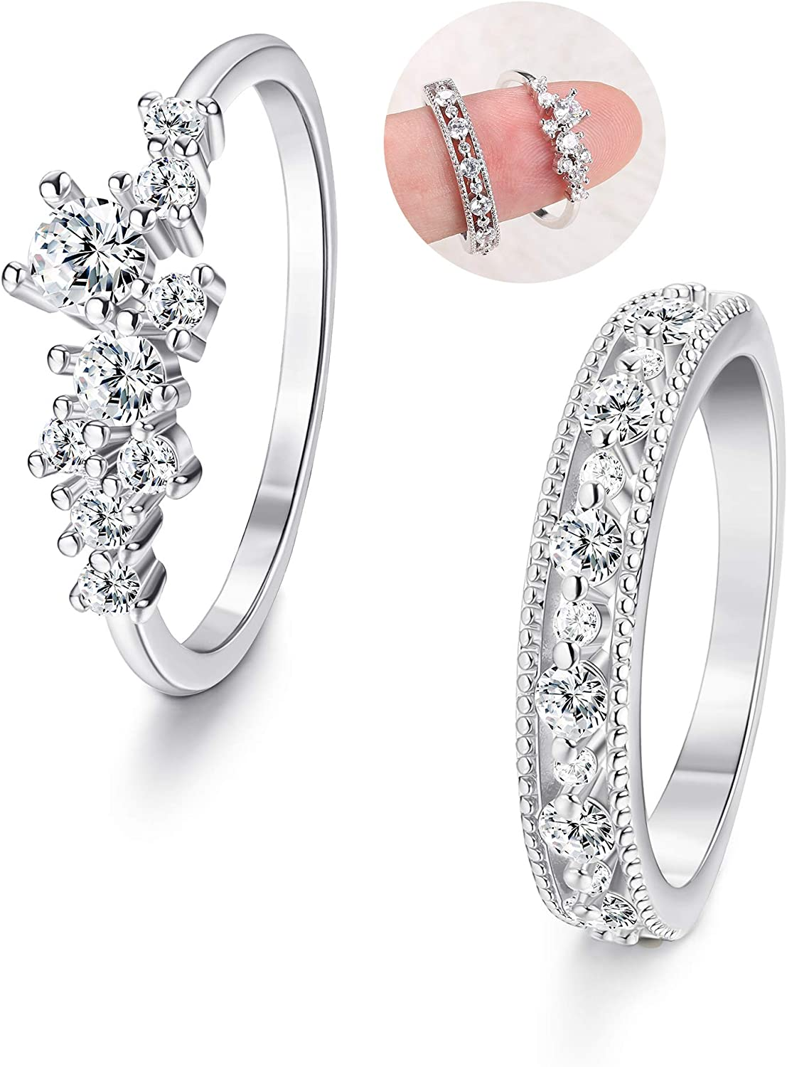 Silver and Cubic Zirconia Stackable Ring