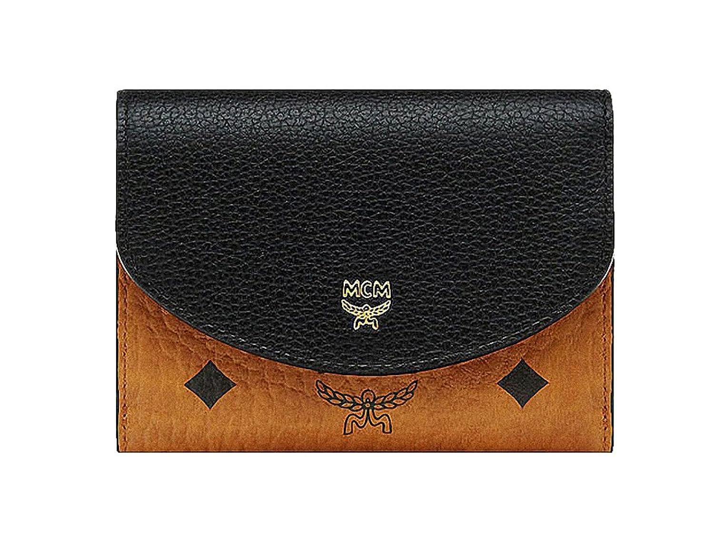 4e58cf7e52c7 【エムシーエム】 MCM 黑コニャック革ブロック三つ折り財布スモールウォレット Visetos Leather