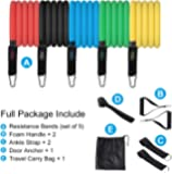 MIAODAM 11 Packs of Resistance Band Set Exercise Resistance Bands,Resistance Band Foam Handles Door Anchor Handles Ankle Straps