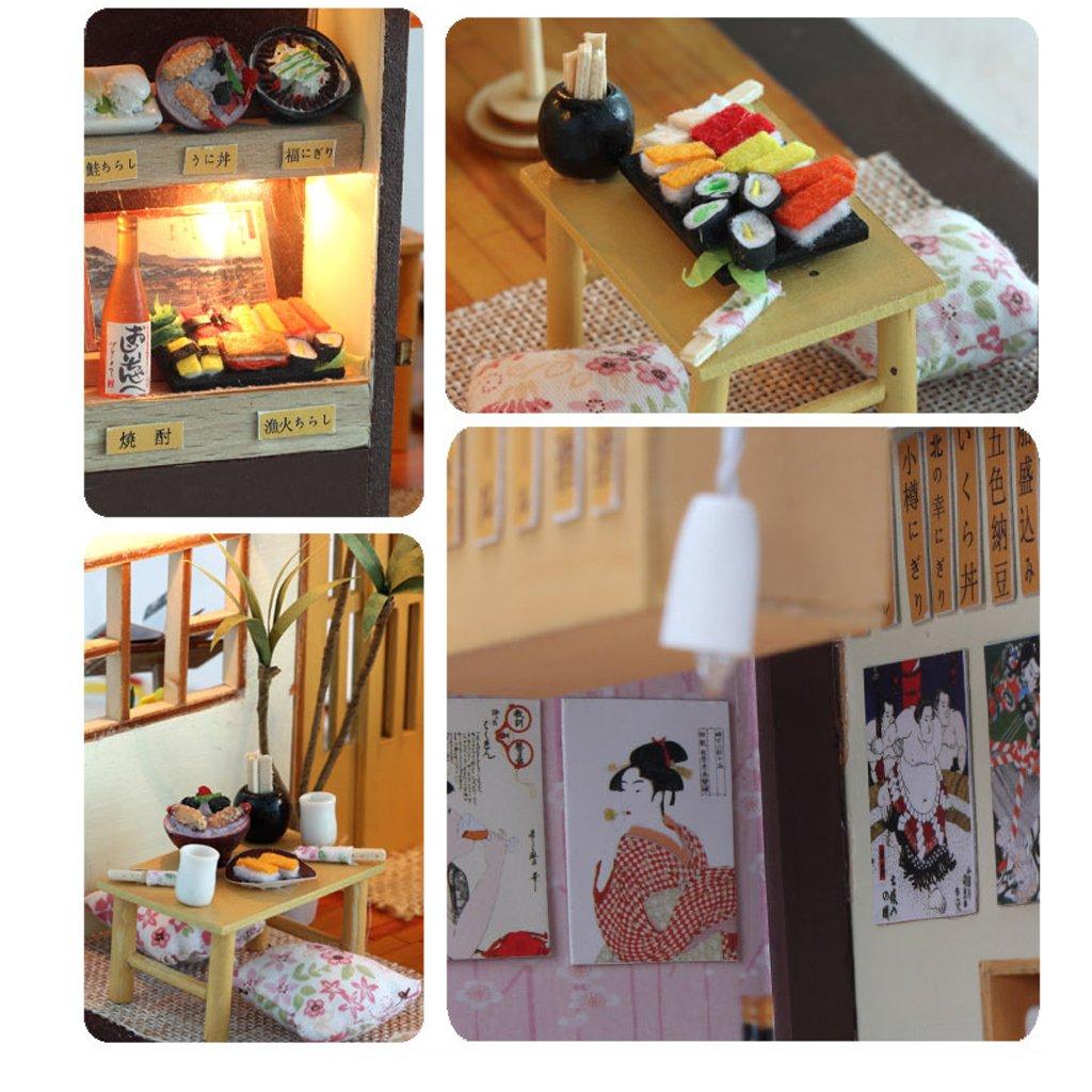 wie beschrieben MagiDeal LED Miniatur Puppenhaus Puppenstube Puppenm/öbel Puppenzimmer Holz DIY Kit mit Abdeckung und Lichter Spielzeug Dekoration # A