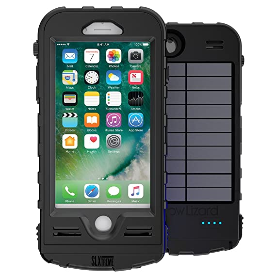 new styles 6ed11 539de SnowLizard SLXtreme iPhone 7 Case. Solar Powered, Rugged and Waterproof  with a built in Battery - Night Black