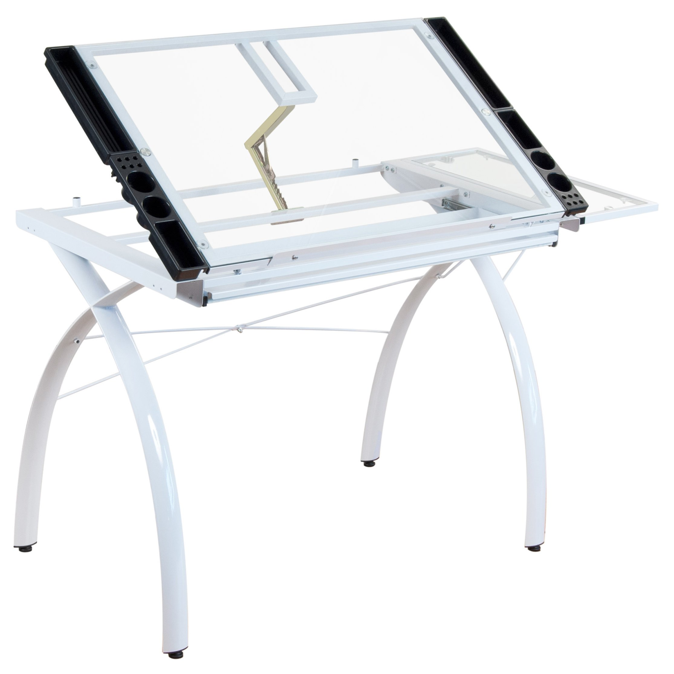 Modern Contemporary Drafting Hobby Craft Station Table with Adjustable Tempered Glass Top with Folding Shelf - Includes Modhaus Living Pen (White) by ModHaus Living (Image #3)