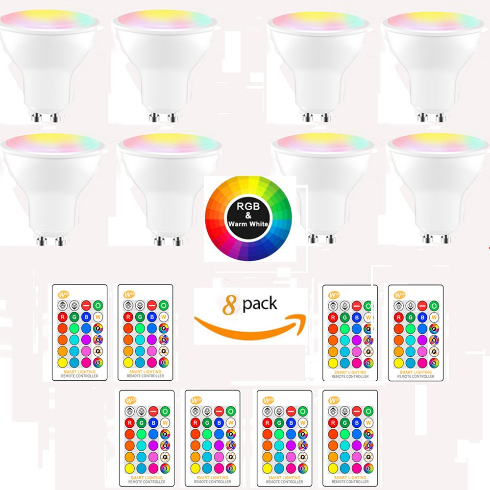 (8-Pack, Warm White) DDSKY GU10 8W RGBW LED Light Bulbs 16 Colors 4 Modes Flood Lighting Bulbs with IR Remote Control Decorative Lights for Home Party Indoor Outdoor Decor