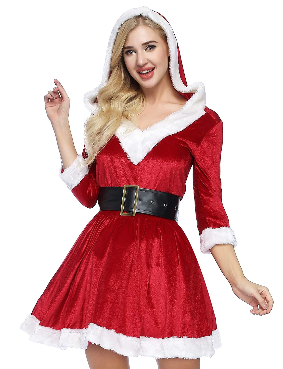 553bff016f1 Amazon.com  ADOMI Women s 2 Piece Mrs. Claus Costume Santa Baby Costume   Clothing