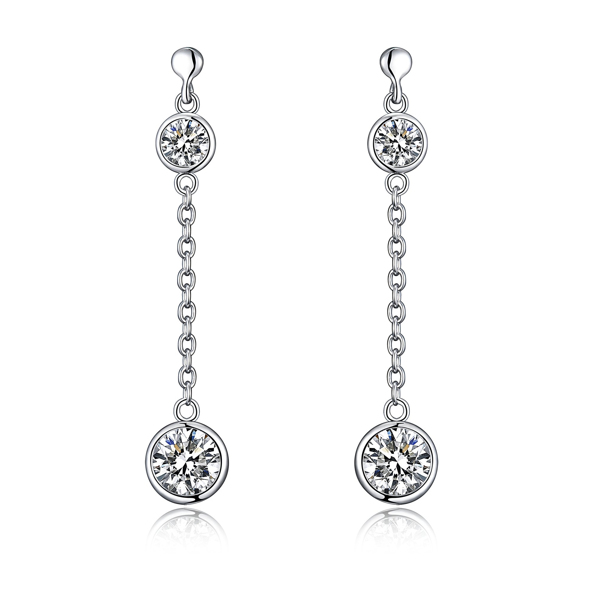 Sterling Silver Dangle Drop Earrings With Simulated Diamonds And Comfort Fit Ear posts - New Arrival