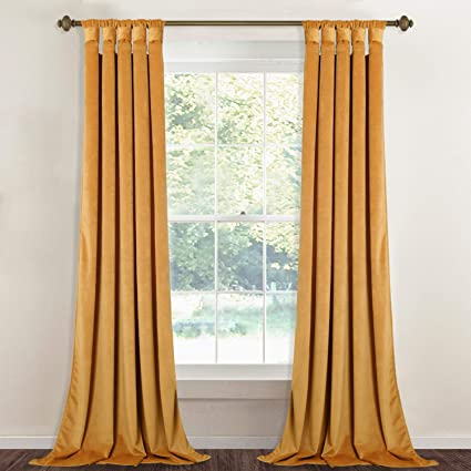 StangH Soft Thick Gold Velvet Curtains