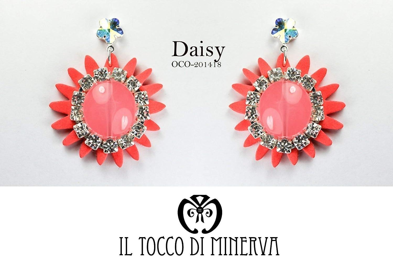 Pendientes de flores de cristal de Swarovski de Coral Daisy hecho a mano Made in Italy