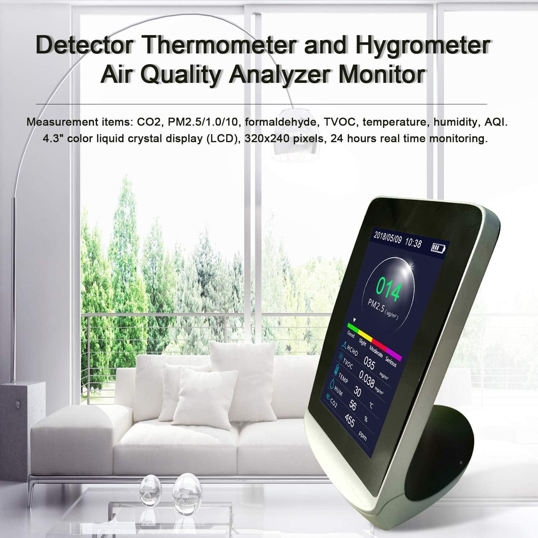 Kecheer Medidor de co2//PM2.5//HCHO//TVOC,Medidor calidad aire,Detector de gas,Co2 monitor con term/ómetro e higr/ómetro