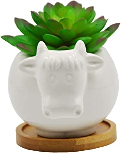 Cute Animal Cow Shaped Cartoon Ceramic Succulent Cactus Flower Pot with Bamboo Tray (Plant Not Included)