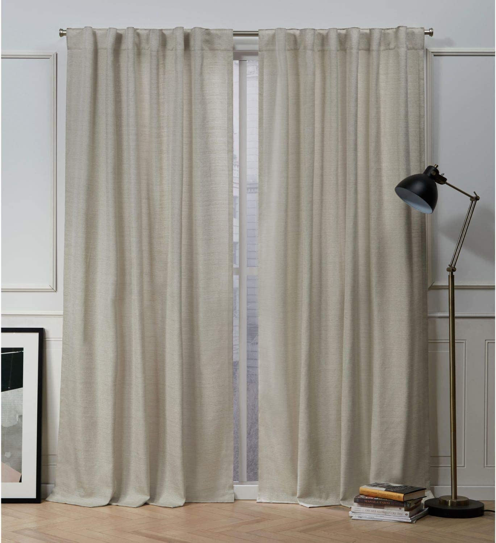 Nicole Miller Mellow Slub Hidden Tab Top Curtain Panel, Linen, 54x96, 2 Piece