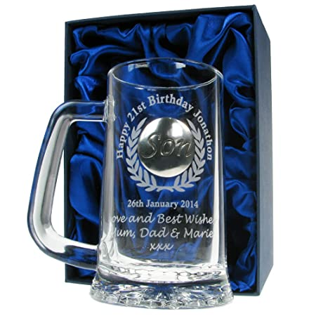 Mens 21st Birthday Gift Engraved Pint Glass Tankard With Solid Pewter Son