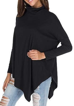 12a9572563f levaca Womens Long Batwing Sleeve Turtleneck Hankerchief Hem Loose Tunic  Black S