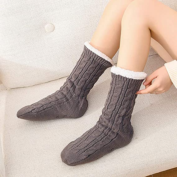 Winter Animal Slipper Socks Knit Fleece Cozy Floor Socks Warm Cute Christmas Socks Casual Indoor Room House Slipper Socks