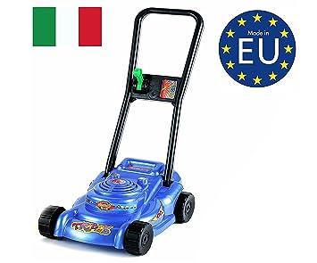 IZZY SPORT niños Cortacésped, certificación TÜV, con cesta 60 x 27 x 50 cm de plástico, rueda libre, Azul: Amazon.es: Juguetes y juegos