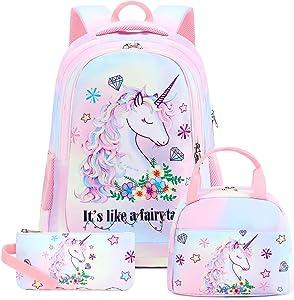 School Backpacks Girls Bookbag Cute Lightweight Backpack Kids Lunch bag and Pencil case (Rainbow 1 - Fairy Unicorn T0032)
