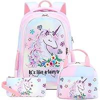 School Backpacks Girls Bookbag Cute Lightweight Backpack Kids Lunch bag and Pencil case (Rainbow 1 - Fairy Unicorn T0032…