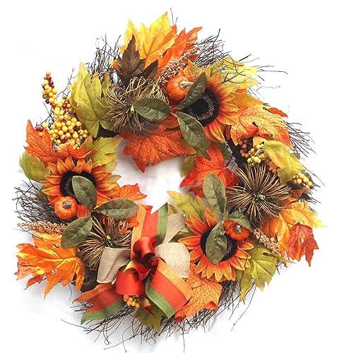 Amazon Com Fall Sunflower Pumpkin Wreath Fall Wreath For