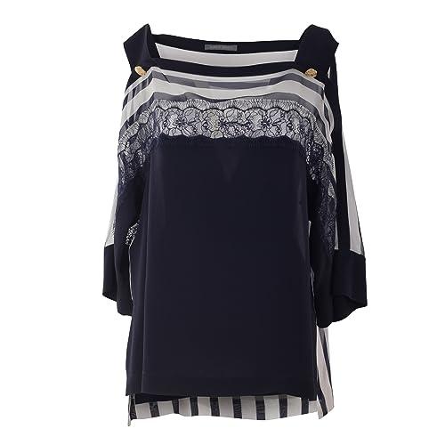 Alberta Ferretti Mujer A020516281290 Blanco/Azul Seda Jersey