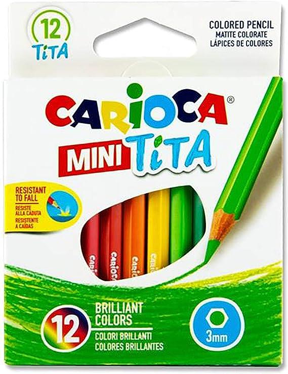 Carioca Mini Tita - Caja de 12 mini lápices hexagonales, multicolor: Amazon.es: Oficina y papelería