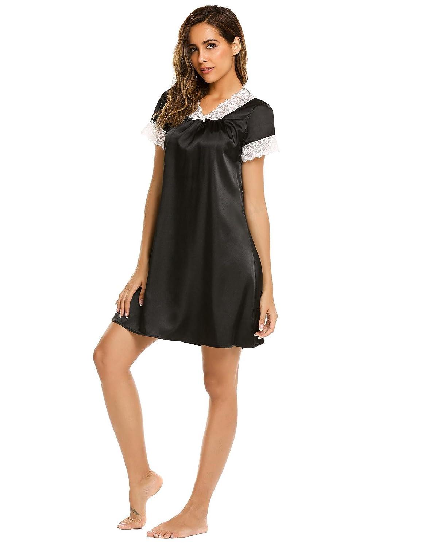 YIJIAOYUN Womens Lace Satin Dressing Gown Silk Nightgown