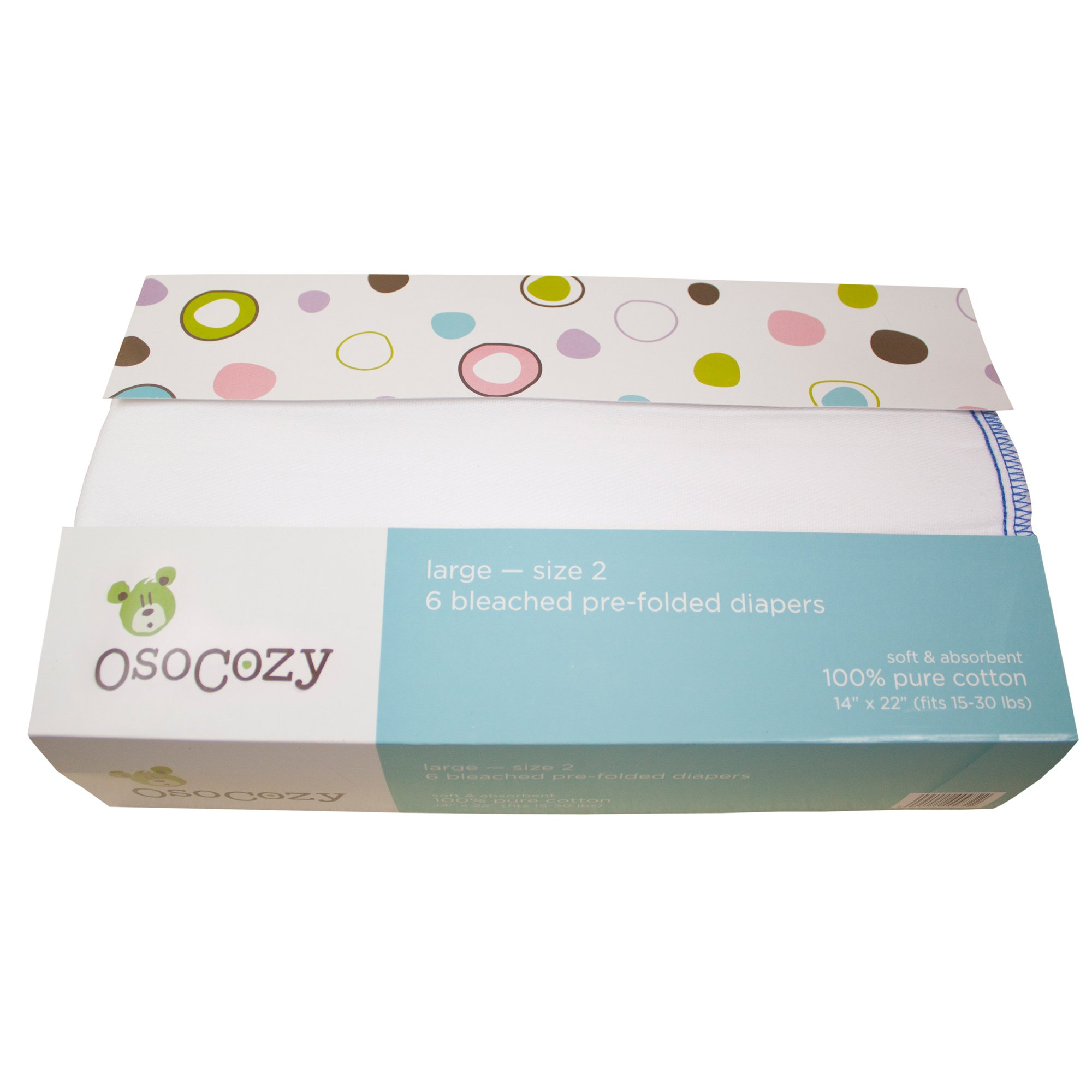 OsoCozy 6 Pack Prefolds Bleached Cloth Diapers, Size 2 fits 15-30 lbs. by OsoCozy