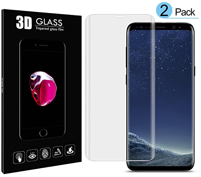 Galaxy S8 Screen Protector Tempered Glass, [2 Pack] 3D Glass Full Coverage,No Scratch, No Bubble,High Definition,Ultra Clear,Tempered Glass Screen Protector for S8