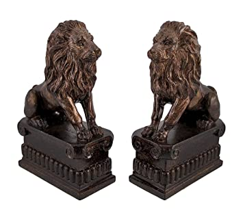 Superb Pair Of Decorative Lion Bookends Bronze Finish