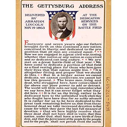 image relating to Gettysburg Address Printable named Wee Blue Coo War American Civil Lincoln Gettysburg Include President Unframed Wall Artwork Print Poster House Decor High quality