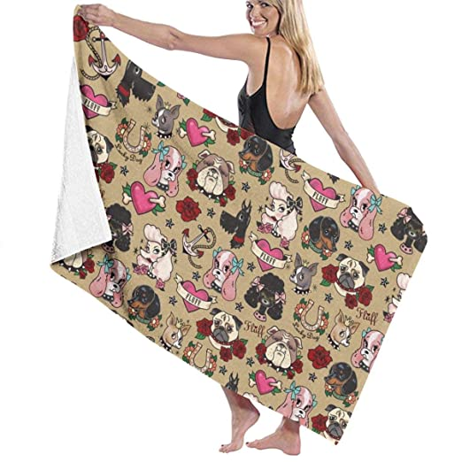 Tattoo Dogs Tan Large Towel Blanket For Travel Pool Swimming ...