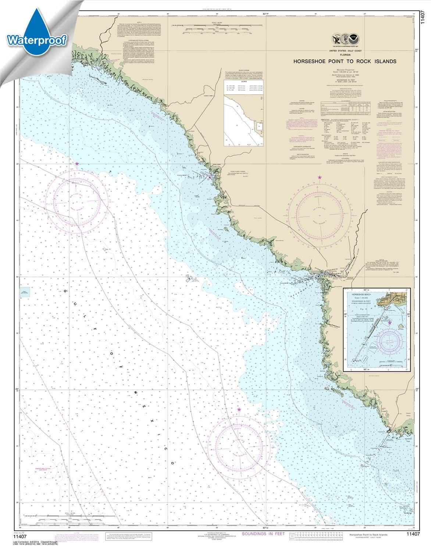 Horseshoe Point to Rock Islands; Horseshoe Beach Paradise Cay Publications NOAA Chart 11407 WATERPROOF 34.8 X 44.1