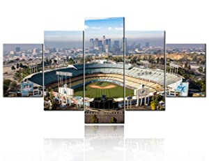 TUMOVO 5 Piece Los Angeles California Panoramic Skyline Cityscape Aerial Over Dodger Stadium Print On Canvas Wall Artwork Modern Photography Home Decor Stretched and Framed Ready to Hang - 60''Wx32''H