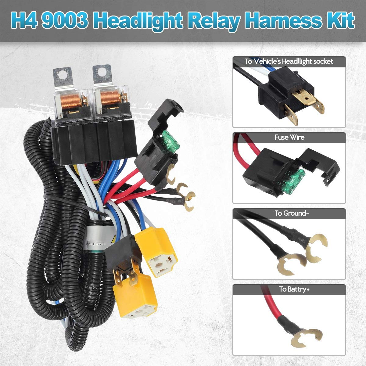 Partsam H4 9003 Headlight Relay Wiring Harness Kit High Jeep Wrangler Low Beam Heat Ceramic Socket Plugs Hid Conversion Compatible With Toyota Pickup