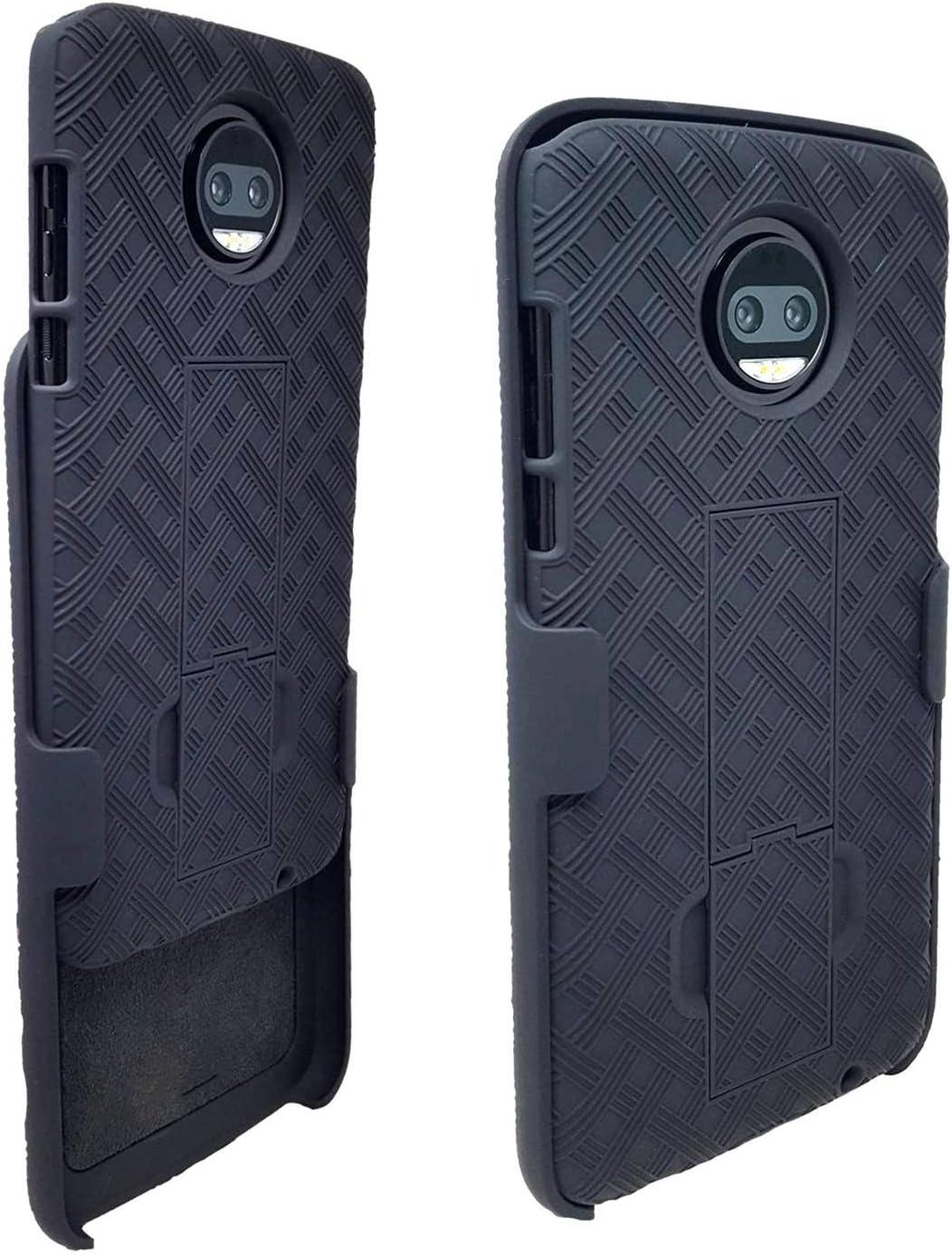 Moto Z2Force Case with Belt Clip Combo Shell Holster Black HAGEN