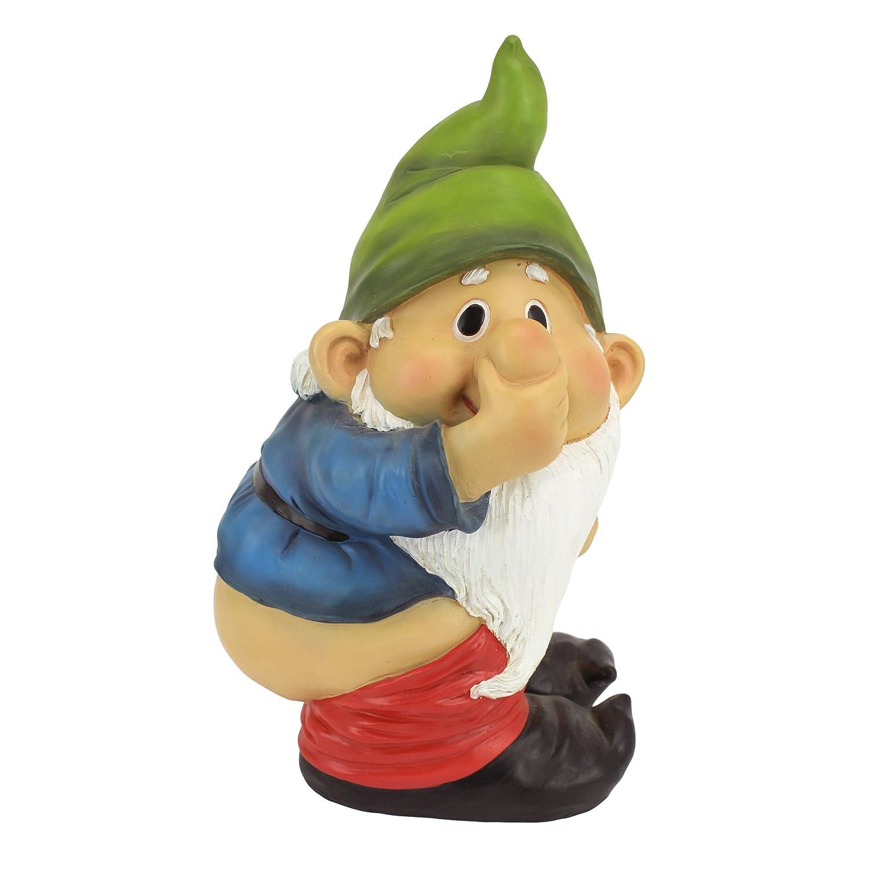 Design Toscano Garden Gnome Statue - Stinky the Garden Gnome - Naughty Gnomes - Mooning Gnomes Statues